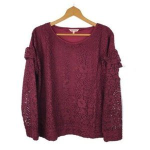 Juicy Couture Burgundy Long Sleeve Ruffle Blouse